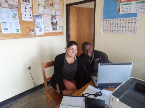 Lizzie and Mordekai (Diocesan youth worker) working in the office