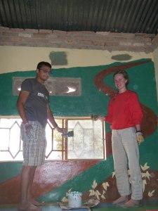 Jenny & John finishing the mural