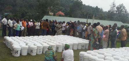 Presenting water filters to communities